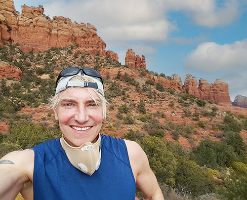 Scotch Wichmann running in the desert