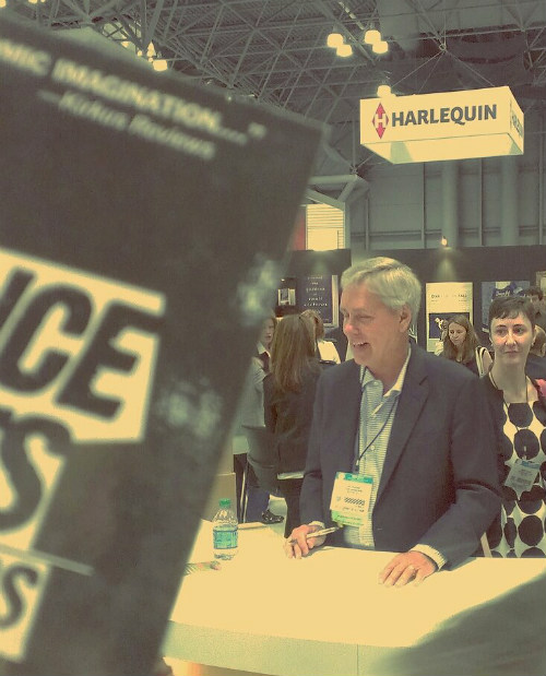 Scotch Wichmann visits Carl Hiassen at BookExpo in NYC, 2014