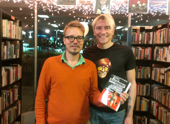 Scotch Wichmann with Gatsby Books owner Sean Moor in Long Beach